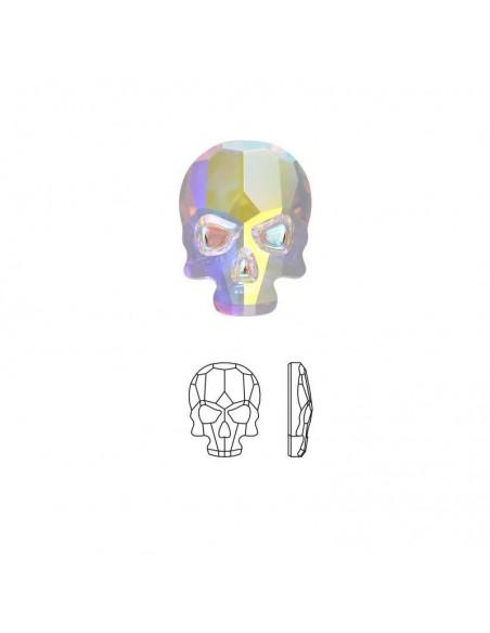 Crystal Hate Skull Aurore Boreale 6x8 mm
