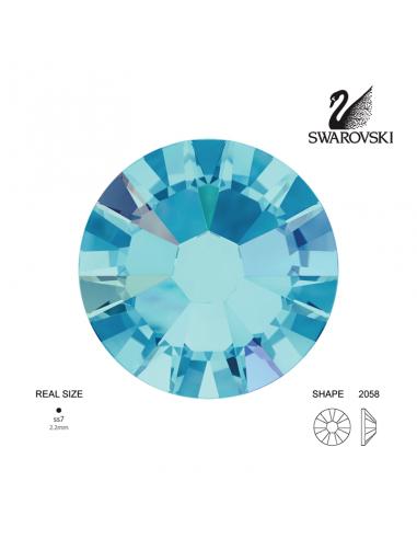 Swarovski® 2058 Aquamarine Aurore Boreale SS7 (2.10-2.30mm)