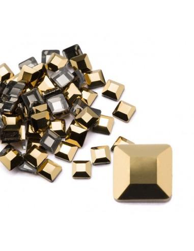 Crystal Square Metallic Gold 2x6mm